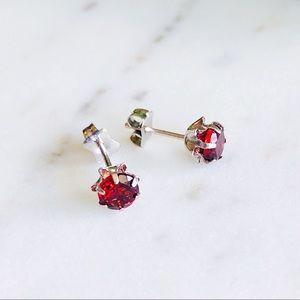 Jewelry - 14K White Gold Red Garnet Earrings